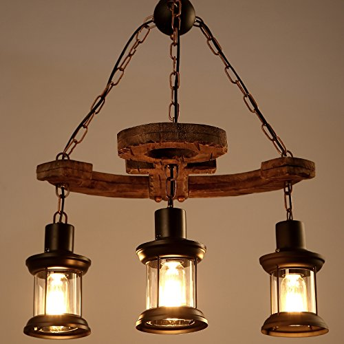 LightInTheBox 3 Heads Industrial Loft Style Amercian Countryside Vintage Wooden Chandelier Lamp Pendent Lighting Fixture for the Foyer / Coffee Room / Bar Decorate Pendant Lamp