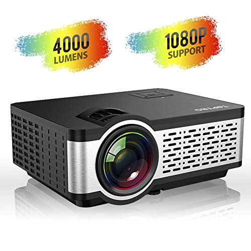 TOPTRO Video Projector, Portable Mini Projector with Stereo Sound, Remote Controller, Support Full HD 1080P Playing, Compatible with PC, Fire TV Stick, PS4, HDMI, VGA, AV and USB Playing