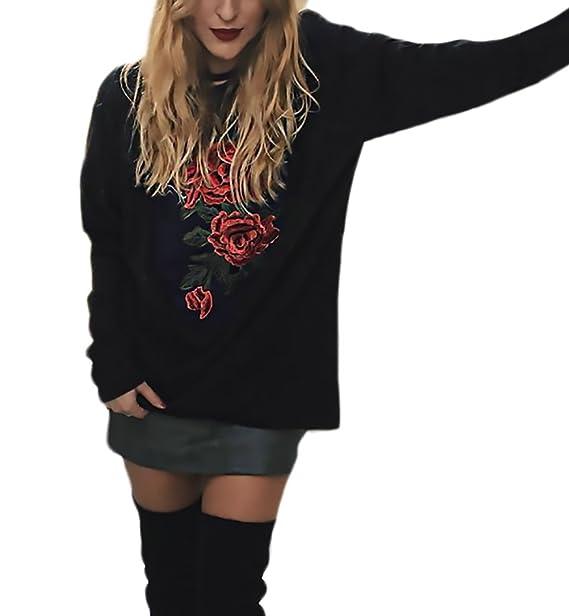 Las Mujeres Sudadera Sin Capucha Baratas Deportivas Negro Bordadas De Flores Sweatshirt De Manga Larga Cuello Redondo Otoño Elegante Casual Ropa Tops ...