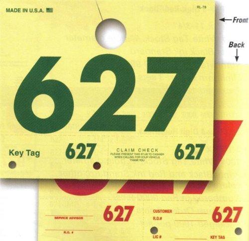 RL-78 Auto Service 3-Digit Mirror Dispatch Tags (1000/set)