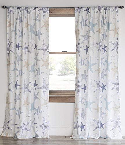 North End Decor Starfish Reef Coastal Panel Set Curtains, White, 2 Count