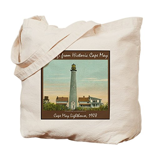 (CafePress - Cape May Lighthouse - Natural Canvas Tote Bag, Cloth Shopping Bag )