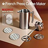 Veken French Press Double-Wall 18/10 Stainless