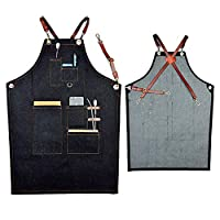 Boshiho Denim Jean Work Apron - Adjustable Bib Chef Apron Barber Apron - Utility Shop Tool Apron with Cross-back Leather Straps (A)