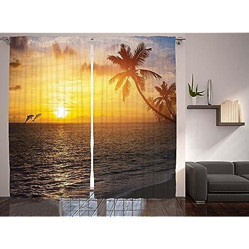 Beach Theme Window Curtains Amazon Com