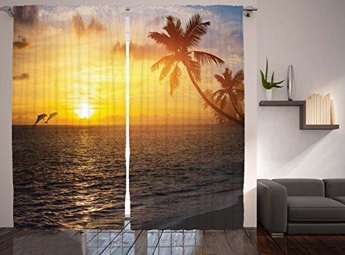 Dolphins Curtains Ambesonne Tropical Decorations