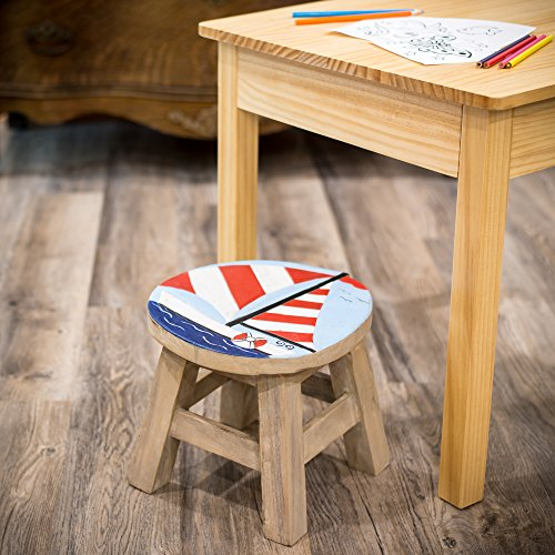 Sailboat Design Hand Carved Acacia Hardwood Decorative Short Stool by Sea Island (Image #2)