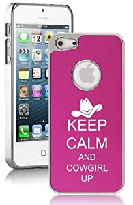 Apple iPhone 4 4s Aluminum Plated Chrome Hard Back Case Cover Keep Calm and Cowgirl Up (Hot Pink)