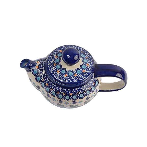 BCV Classic Boleslawiec, Polish Pottery Hand Painted 2-Cup Ceramic Teapot 0.5 litre with removable infuser for Loose Leaf Tea 019 (U-006)