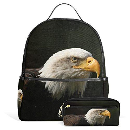 Mochila escolar con estuche retrato de águila de bálsamo para colegio, escuela secundaria, adolescentes, niños y niñas
