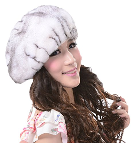YR Lover Women's Earmuffs The Whole Skin Mink Fur Beret Caps Cute Hats