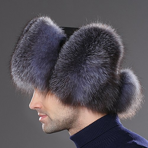 URSFUR Mens Russian Ushanka Hat Real Leather & Silver Blue Fox Fur Trapper Cap