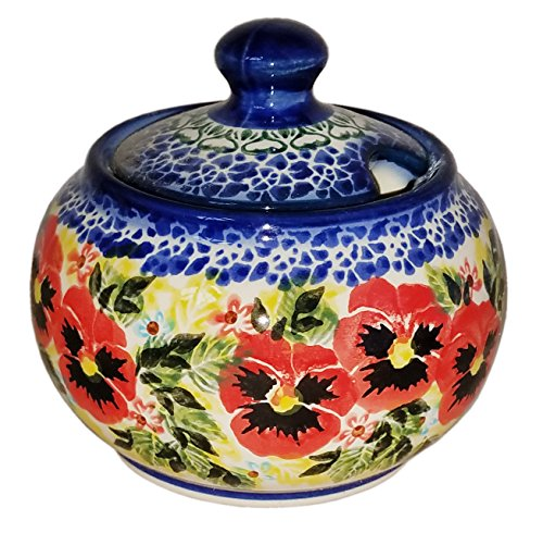 Polish Pottery Sugar Jar - Polish Pottery Sugar Bowl Honey Pot Unikat Eva's Collection