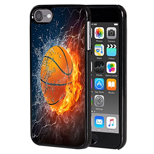 iPod Touch 6 case,AIRWEE Slim Back Cover Hard Plastic Protector Case Stylish Design for Apple iPod Touch 6th Generation - Fire and Ice Basketball (Cases My Ipod Turtle Heavy 5 Duty)