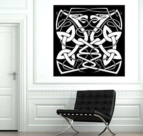 (Wall Art Mural Abstract Animal in Celtic Style Couple Intertwined Snake Decal and Stick Wall Decals )