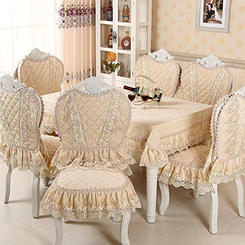 1 pcs Chair Cover Set Cotton Jacquard Floral Damask Chair Back Cover and Lace Cushion Dinning Room Home Decoration European Classic -