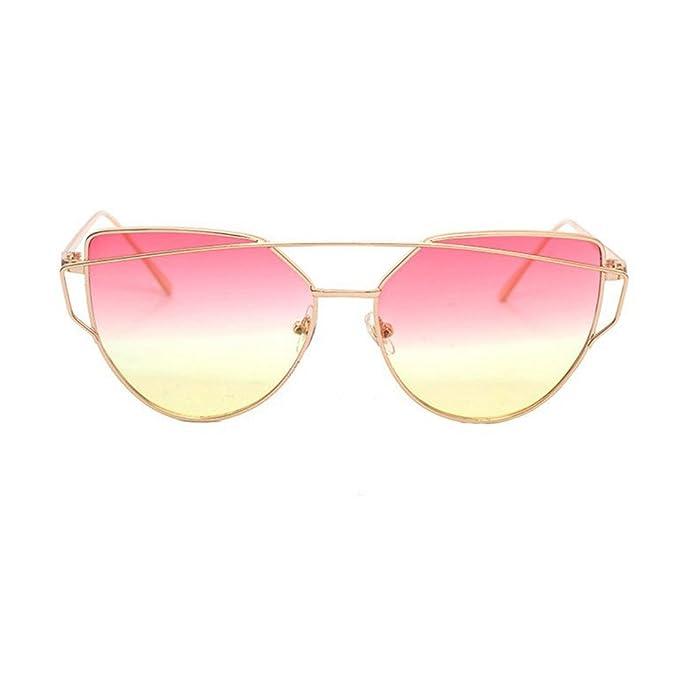 49f1457e31cfc5 Tonsee Twin-Beams Classic Frauen Metall Frame Spiegel Sonnenbrille  Katze(Gelb)