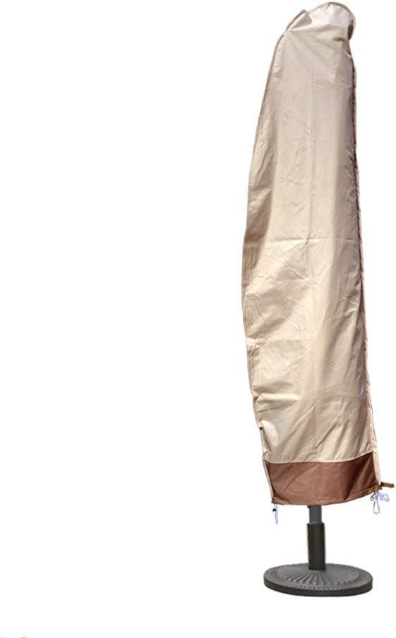 SFJ-CA Outdoor Umbrella Cover Market Garden Offset Cantilever Parasol Cover Water Resistant Oxford Fabric Patio Umbrellas Cover for 8-11 Ft Umbrella (Beige + Coffee)