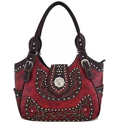 Western Style Cowgirl Belts Buckle Country Purse Crossbody Handbag Women Hobo Shoulder Bag Wallet Set Red
