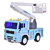 Rescue Truck Construction toys Friction Powered for Kids for Boys with Light and Sound 4 Wheels 1 Removable Ladder 1:20 Advanced Simulation Model-Road Administration Series Blue and White