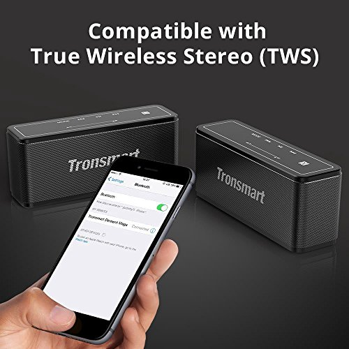 Tronsmart Mega Bluetooth 4.2 40W Bluetooth Speaker with 15-Hour Playtime, TWS, Dual-Driver Portable Wireless Speaker with Built-in Mic, NFC, Deep Bass, LED Backlighting for Outdoor Indoor