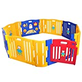 LAZYMOON Baby Playpen 12 Panel Kids Safety Center Yard Home Indoor Outdoor Pen Blue