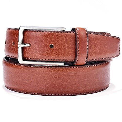 db2feda36149 LUCHENGYI Cinturones Cuero Hombres Marrón de Piel Italiana Genuina con  Pespuntes y Hebilla Metálica de Marca
