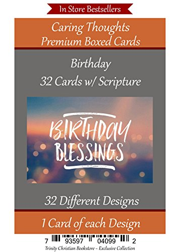 Religious Birthday Cards - Birthday (No Repeated Cards) 32 Design Christian / Religious Greeting Card Assortment ~ Scripture in every card