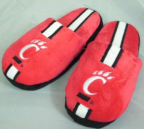 Cincinnati Bearcats Youth Kinder Team Stripe Plush Slippers Forever Collectibles