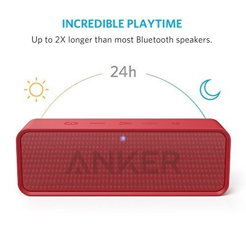 Anker SoundCore Bluetooth Speaker with 24-Hour Playtime, 66-Foot Bluetooth Range & Built-in Mic, Dual-Driver Portable Wireless Speaker with Low Harmonic Distortion and Superior Sound - Red
