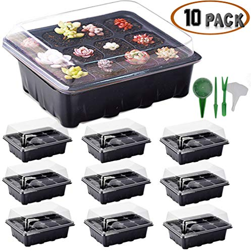 ARMRA 10 Set Seed Trays Garden Plant Seedling Starter Germination Drain Holes Efficiently Transfers Heat Promotes Root Growth Labels Hand Tool Kit (10 Trays, 12-Cells Per Tray) Ideas