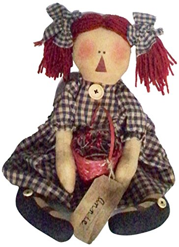 Craft Outlet Fabric Raggedy Ann Hold Basket Doll, 16-Inch