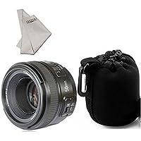 YONGNUO YN50mm f/1.8 AF Lens Aperture Auto Focus for Nikon D800 D300 D300S D700 D600 D5000 D5100 D5200 D5300 D5500 D3100 D3200 etc.+INSEESI Clean Cloth+ Lens Pouch Bag