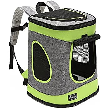 "Petsfit Comfort Dogs Carriers/Backpack, Hold Pets up to 15 LBS,Go for Walk, Hiking and Cycling (Grey and Green) 17""H x13""L x11""D"
