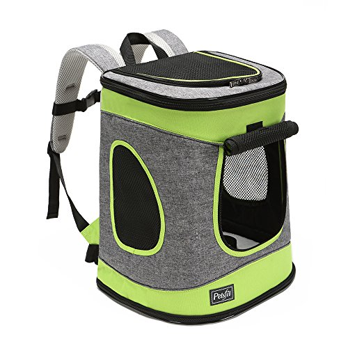 Petsfit Comfort Dogs Carriers/Backpack, Hold Pets up to 15 LBS,Go for Walk, Hiking and Cycling (Grey and Green) 17