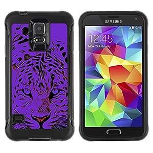 LASTONE PHONE CASE / Suave Silicona Caso Carcasa de Caucho Funda para Samsung Galaxy S5 SM-G900 / Black Tiger Animal Stylish