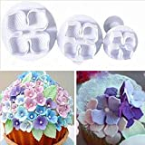 3Pcs/Set Silicone Hydrangea Fondant Cake Decorating SugarCraft Plunger Cutter Flower Blossom Mold Home Cake tools