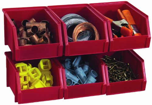 Stack-On Bin-503-Pack Small Parts Storage Organizer Bin, 6 Pack, Red