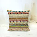 Decorative Pillow Cover - Bohemian Style Colorful Stripes Cotton Linen Throw Pillow Case Cushion Cover Home Office Decorative Square 18 X 18 Inches