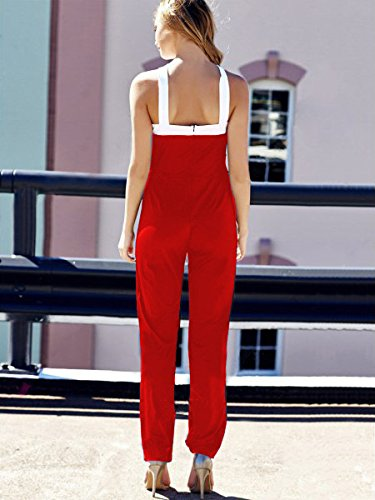 Red Pants Rompers Aro Halter Long Cross Women's Jumpsuits Neck Wide Criss Lora Leg Ra6RZ
