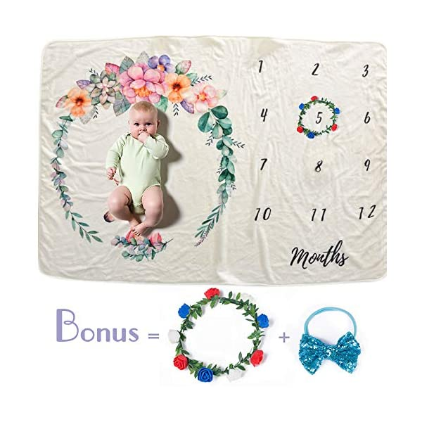Newborn Baby Monthly Milestone Blanket, Photography Backdrop Photo Prop for Newborn Boy & Girl,Trottie Infant Swaddling Blanket-New Mom Baby Shower Gift (Wreath Headband Included) (Pinky Unicorn)