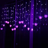 Multi-color 4M 96 LEDS 18P Hearts Love Shape LED String Curtain Light For Christmas Wedding Party Decoration Chandelier Luminarias (Purple)