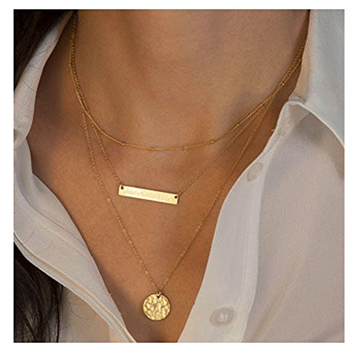 Zealmer Ladies Multilayer Long Metal Chain Necklace Geometry Accessories Gold Color