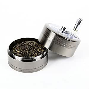 Tobacco/Spice Grinder Chromium Metal Herb Grinder with Mill Handle 4 Parts 2.5 Inches - Black