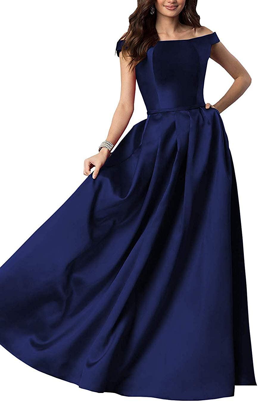 Navy bluee Women's OffTheShoulder Satin Long Gown Prom Dress Evening Dresses with Pockets