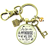 Christian New Home Keychain As For Me My House We Will Serve The Lord Faith Rustic Bronze Charms Keepsake Gift Card