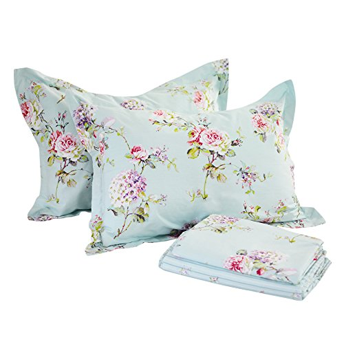 Print 4 Piece Cotton (FADFAY 4-Piece Blue Floral Print Bed Sheet Set Cotton Bed Sheets, Queen)