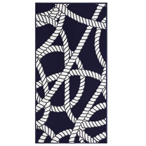Rug Rain Black (Evolur Home Belmar Nautical Nursery Rug/Bedroom/Livingroom/BabyPlaymat/ChildrensRug/PlayRug/KidsRug/Floormat 55'x31.5'in Navy with White Border)