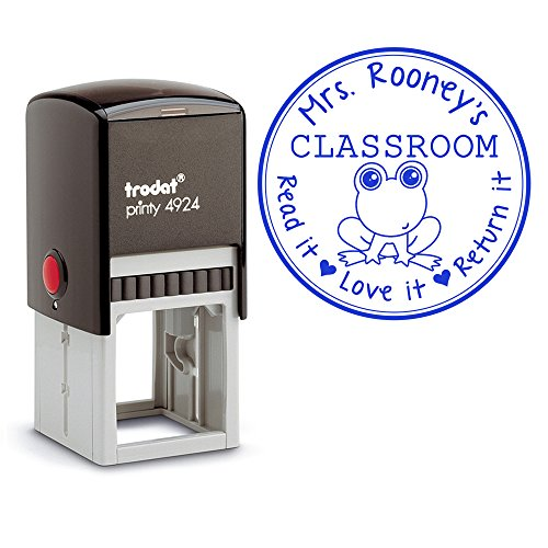 Blue Ink, Self Inking Personalized Teacher Stamp, From The Classroom of Frog Read it Love It Return It Custom Large Round 3 Lines Customized Personal Teacher Appreciation Christmas - Customized Customised