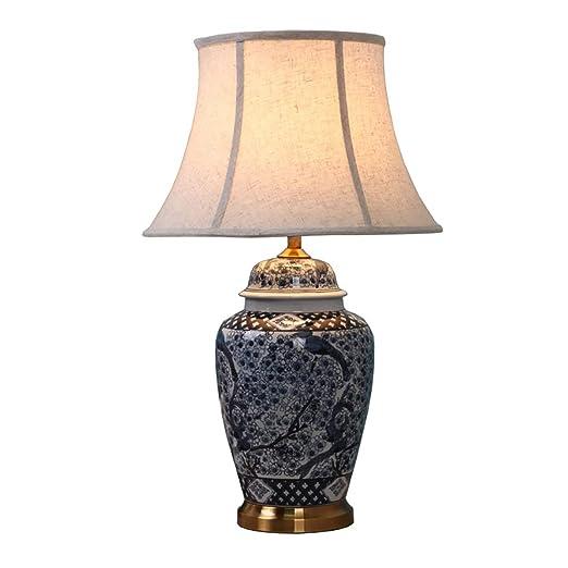 ZIXUAA Lámpara de Mesa de cerámica, lámpara de Porcelana ...